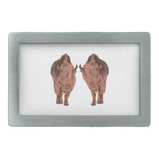 Wild Buffalo Rectangular Belt Buckles
