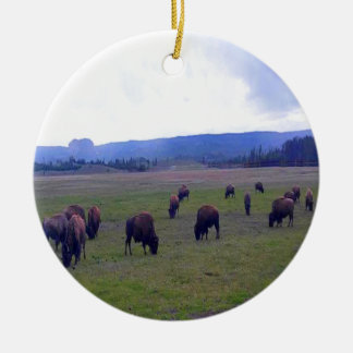 Wild Buffaloes Round Ceramic Ornament