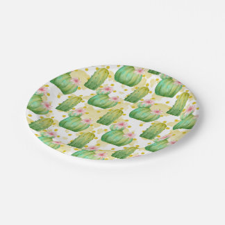 Wild cactus watercolor party pattern plate