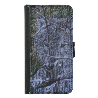 Wild camouflage woodland wildlife Grey wolf Samsung Galaxy S5 Wallet Case