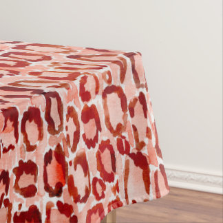 WILD CAT Orange Leopard Skin Animal Print Tablecloth