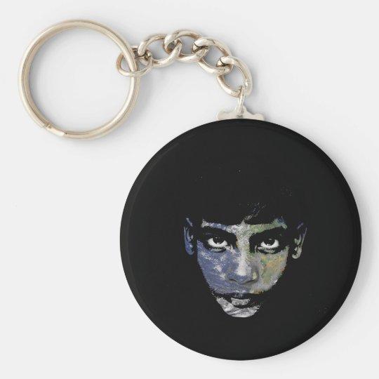 Wild child basic round button keychain