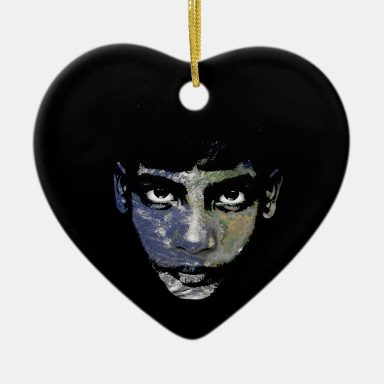 Wild child ceramic heart ornament