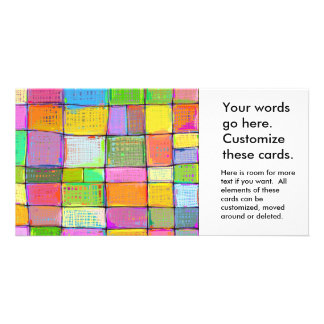 Wild colorful fun modern abstract painting quilt photo greeting card