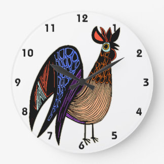 Wild Colorful Rooster Large Clock