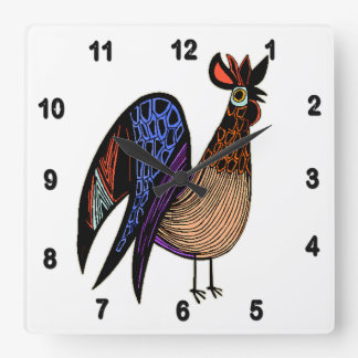 Wild Colorful Rooster Square Wall Clock