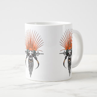 Wild Cyber Skull With Tusks Large Coffee Mug