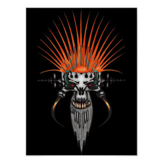 Wild Cyber Skull With Tusks Posters