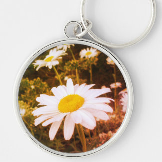 Wild Daisies Cheerful Flowers Sunshine Meadow Keychain