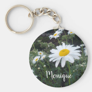 Wild Daisies Cheerful White Yellow Flowers Keychain