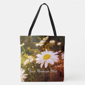 Wild Daisies Cheerful White Yellow Flowers Tote Bag
