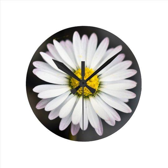 Wild Daisy White and Yellow Round Clock