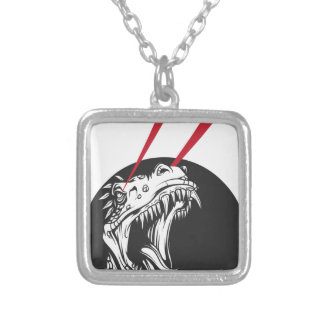 wild dinosaur silver plated necklace