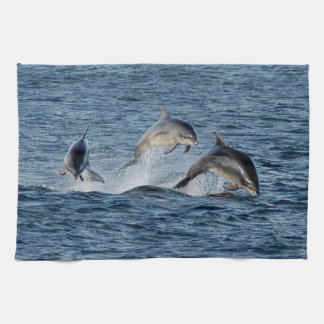 Wild Dolphins Leaping Photograph Scotland Highland Kitchen Towel