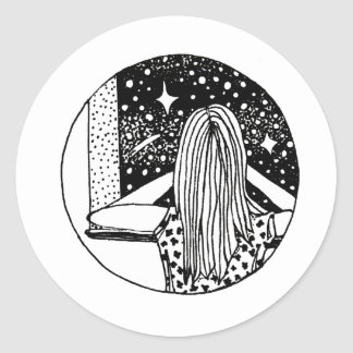 Wild Dreamer Girl's Pen Art Star Gazing Classic Round Sticker