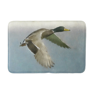 Wild Duck In Flight Bath Mat