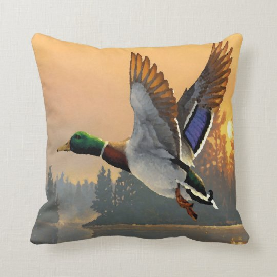 Wild Duck Take Off At Lake Sunset Throw Pillow