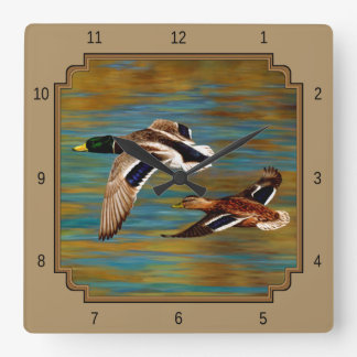 Wild Ducks Flying Tan Square Wall Clock