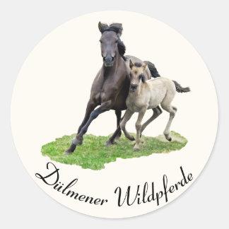 Wild Dulmen Horse Mare Foal - Dülmener Wildpferde Classic Round Sticker