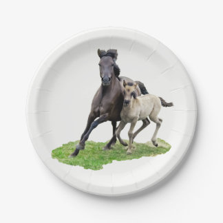 Wild Dulmen Horse Mare with Cute Foal Gallop Party 7 Inch Paper Plate