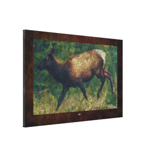 Wild Elk and Foerst Nature Impressionist Painting Canvas Print