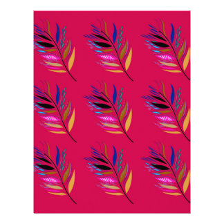 Wild ethno leaves /  feathers textile edition letterhead