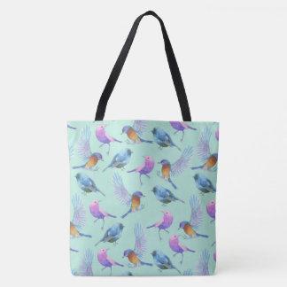 Wild Exotic Birds Watercolor Pattern Tote Bag