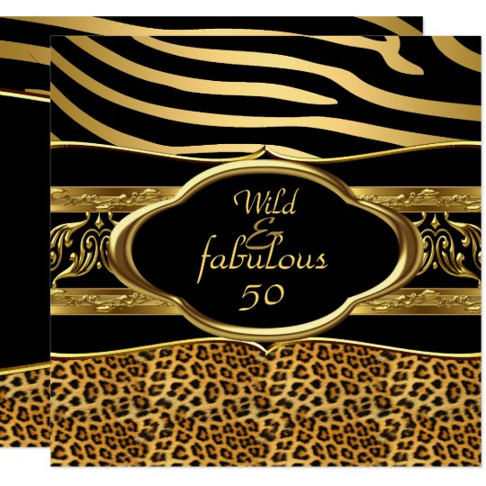 Wild Fabulous Zebra Leopard Black Gold Birthday 3 Card