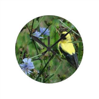 Wild Finch Goldfinch Flowers Floral Bird Wallclock