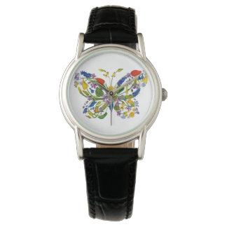 Wild Flower Butterfly Floral Bouquet Watch