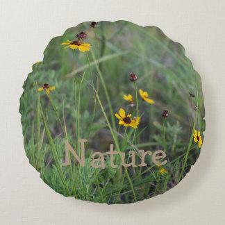 Wild flower field round throw pillow