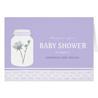 Wild Flower Mason Jar and Lace Baby Shower Card