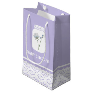 Wild Flower Mason Jar and Lace Baby Shower Small Gift Bag