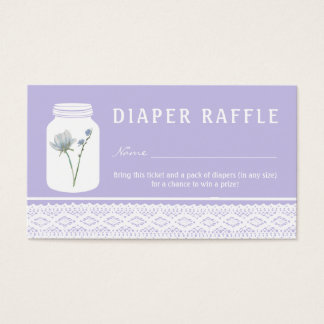 Wild Flower Mason Jar & Lace Diaper Raffle Ticket