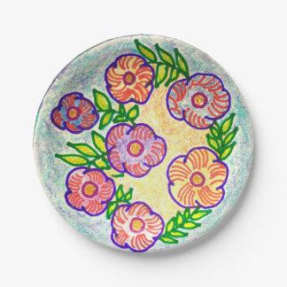 Wild flower vine paper plate