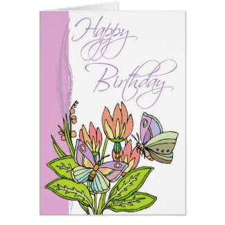 Wild Flowers and butterflies Greeting Card