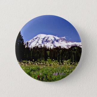 Wild flowers and snowy peak, Mt. Rainer, Washingto 2 Inch Round Button