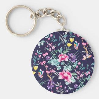 wild flowers boho monogram navy keychain