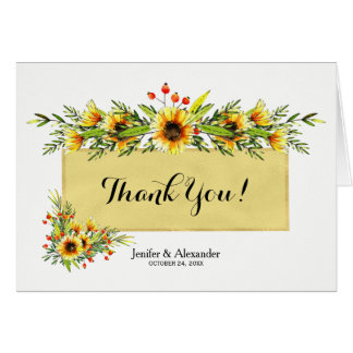 Wild flowers bouquets white gold wedding thank you card