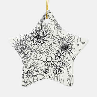 Wild Flowers Ceramic Star Ornament