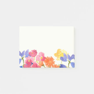 Wild Flowers Colourful Watercolour Post It Notes