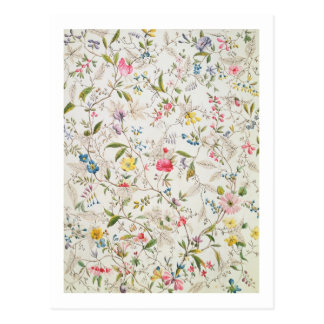 Wild flowers design for silk material, c.1790 (w/c postcard