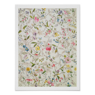 Wild flowers design for silk material, c.1790 (w/c poster