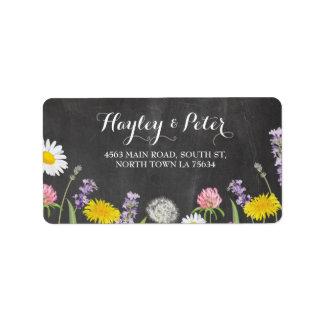 Wild Flowers Elegant Chalk Address Labels Stickers