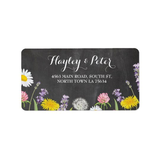 Wild Flowers Elegant Chalk Address Labels Stickers