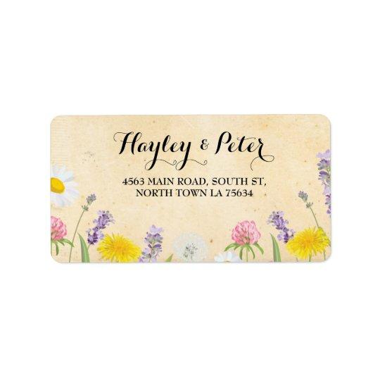 Wild Flowers Elegant Floral Address Label Stickers