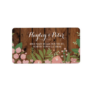 Wild Flowers Elegant Wood Address Labels Stickers