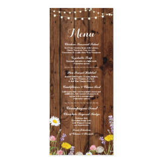 Wild Flowers Menu Wedding Reception Wood Card