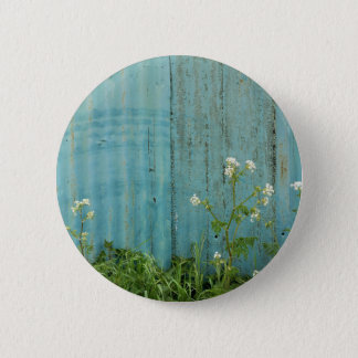 wild flowers nature blue paint fence texture 2 inch round button