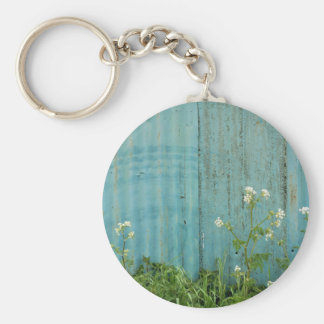 wild flowers nature blue paint fence texture basic round button keychain